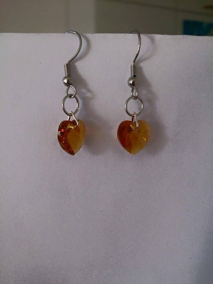 Topaz yellow swarovski heart earrings