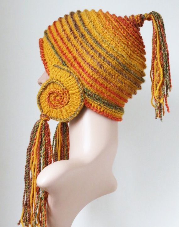 Yellow Earflap Hat Freeform Crochet Unique by MinnaMatildaDesigns
