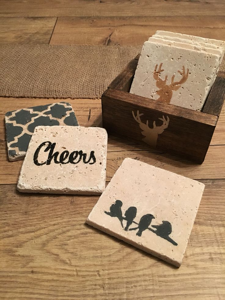 Love these travertine coasters and coaster crate