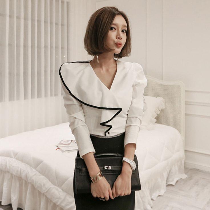 Feminina V Средства ухода за кожей Шеи 2018 высокого класса корейский Демисезонный Шифоновая Блузка Белый профессиональный рубашка Для женщин Топы корректирующие оборками Блузки для малышек купить на AliExpress