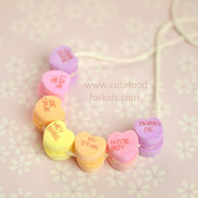 One minute craft project: edible necklace for Valentine's day