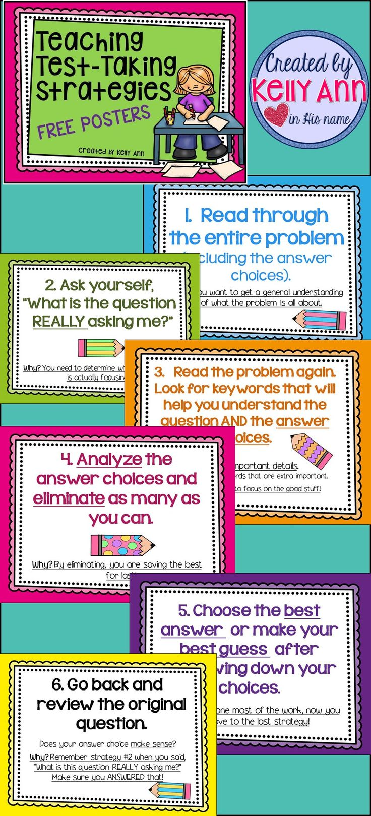 These posters would be great to hand around the classroom to give test taking strategy reminders to students. They can look to these when taking tests and can find comfort in knowing that their teacher is there to help them.