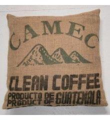 Coussin en toile de jute recyclée - Sac de café du Guatemala 60x60