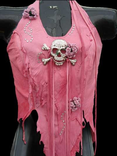 """And A Bottle OF Rum In Pink Halter"" Beaded Ladies Leather Halter"
