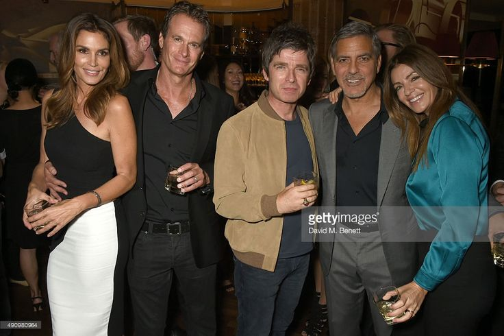 Cindy Crawford, Rande Gerber, Noel Gallagher, George Clooney and Sara MacDonald attend the London launch of Casamigos Tequila and Cindy Crawford's book 'Becoming' hosted by Rande Gerber, George Clooney and Michael Meldman on October 1, 2015 in London, England.