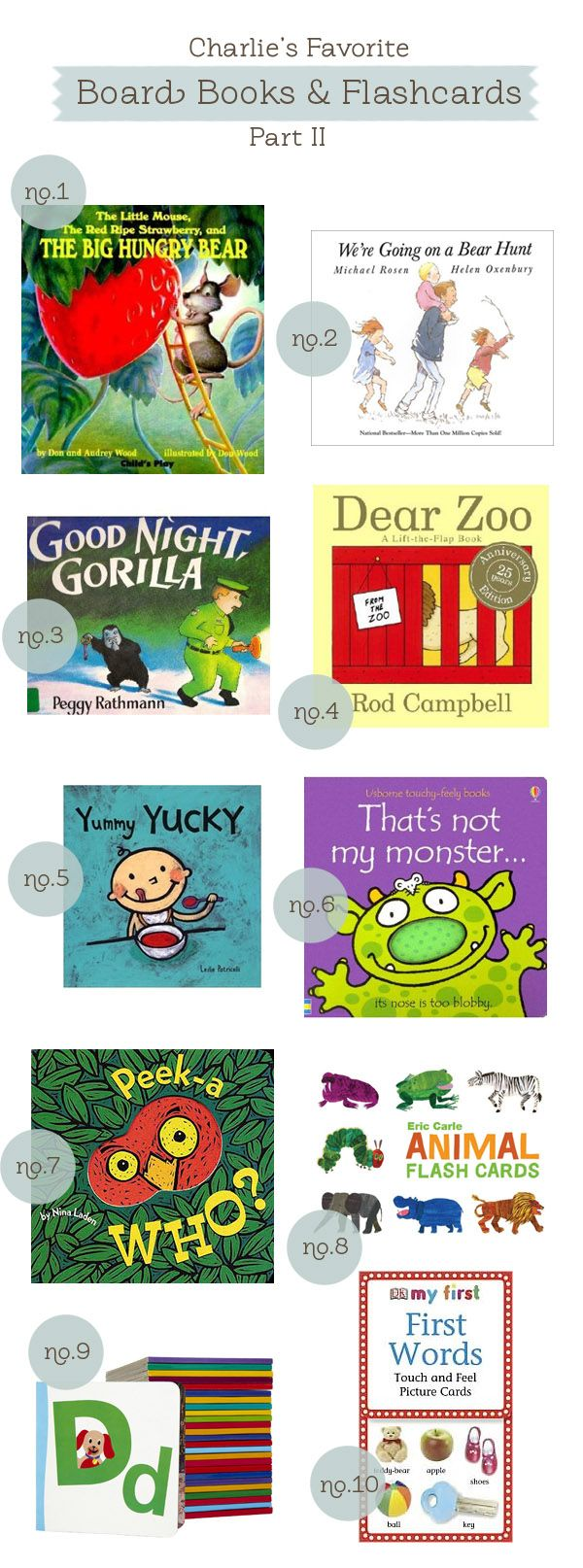 charlie's favorite board books and flashcards