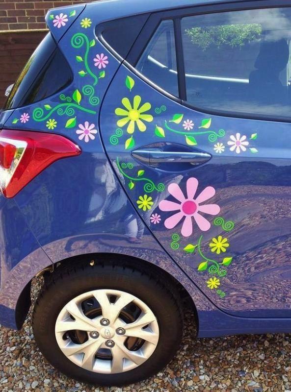 hippy motors crazy daisy flower graphics stickers funky camper van decal.jpg (593×800)