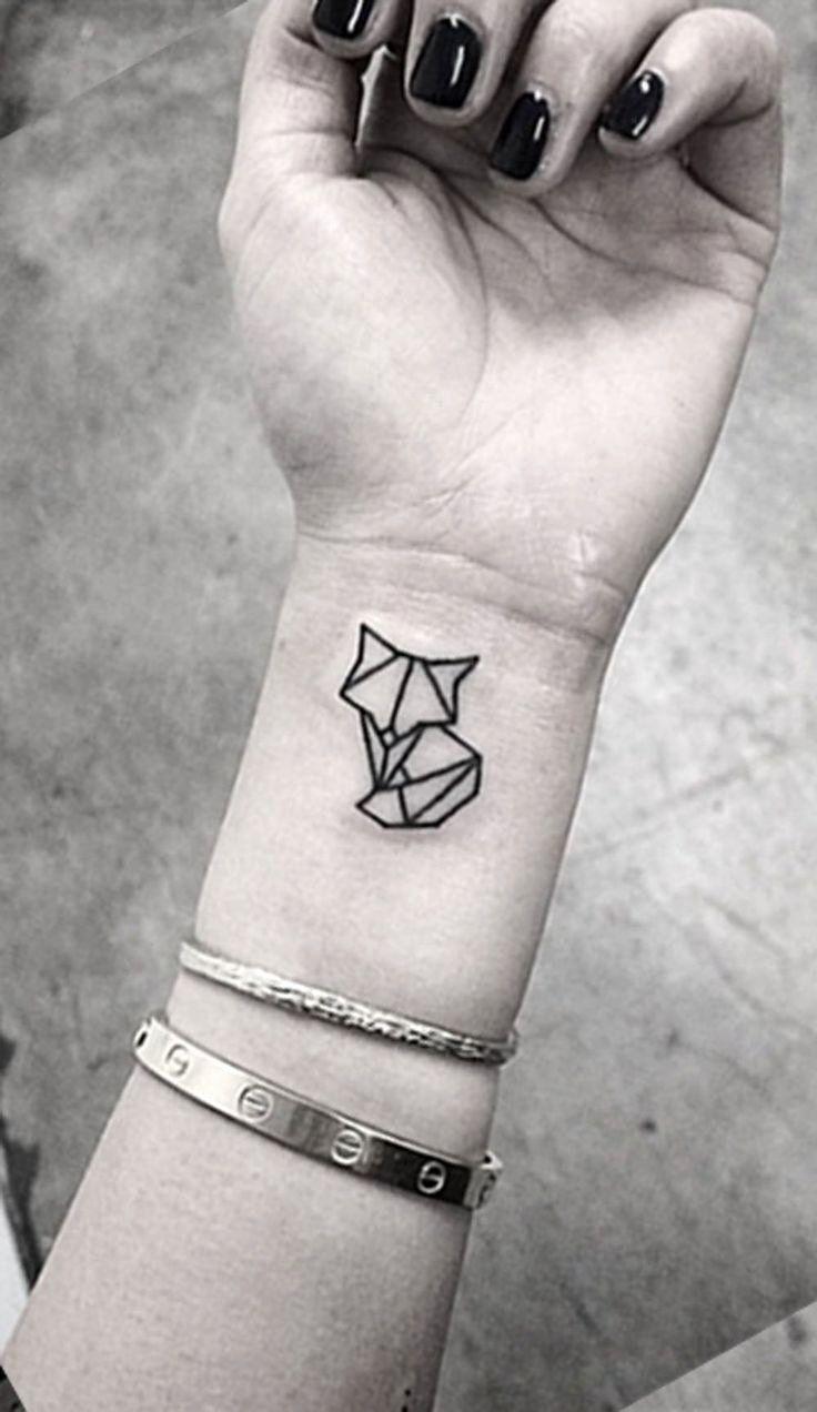Geometric Tattoos Cat In 2020 Small Tattoos Small Geometric Tattoo Wrist Tattoos For Guys