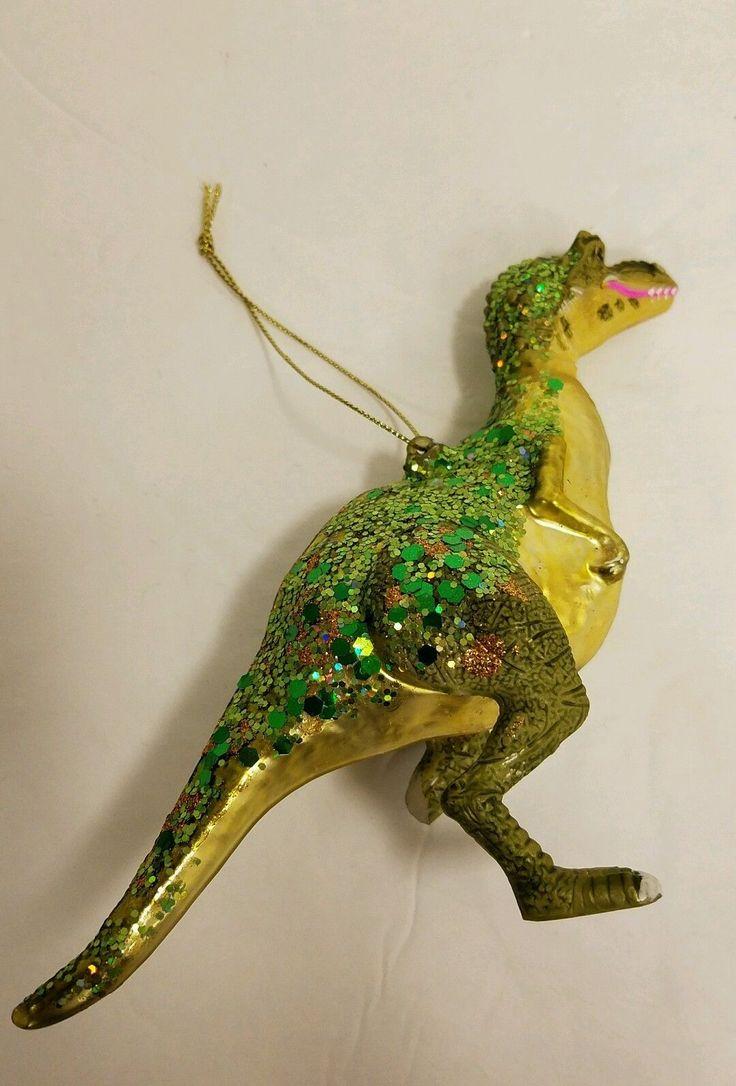 Dinosaur christmas ornaments - T Rex Raptor Dinosaur Sequin Glass Christmas Ornament Rare