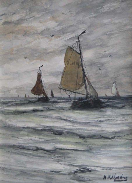 Hendrik Willem Mesdag (Groningen 1831-1915 Den Haag) Scheveningen fishing boats returning to the beach - Dutch Art Gallery Simonis and Buunk Ede, Netherlands.