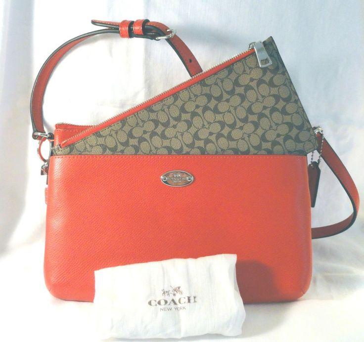 Coach Leather Handbag Purse Bright Orange Crossbody Extra Bag Padlock Key Fob #Coach #ShoulderorCrossbody