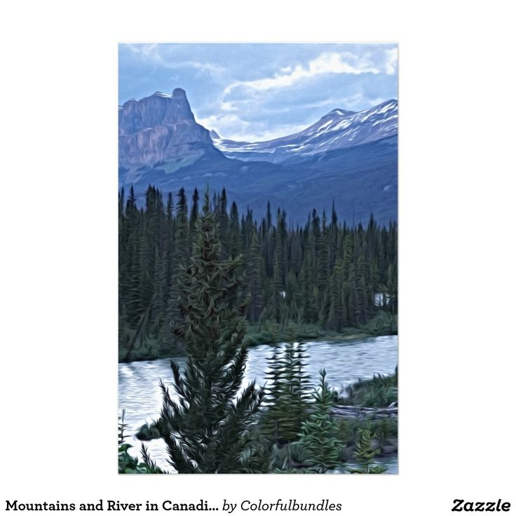 Mountains and River in Canadian Wilderness
