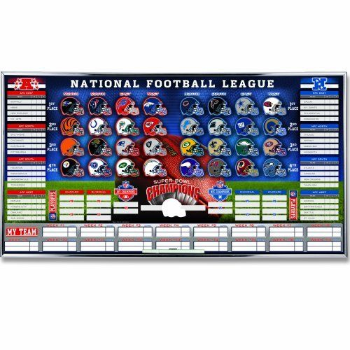 NFL Standing Board by WinCraft. $38.95. Made of lithographed tin and are framed, ready to hang.. Great way to track yours and all team's standings throughout the season and playoffs.. Made in the USA. Includes all 32 team helmet magnets.. Includes dry erase pen.. NFL Standing Board