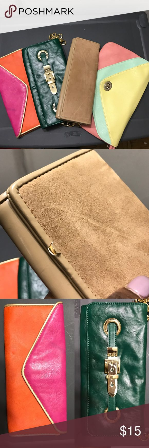 BUNDLE: 4 colorful clutches (By Aldo & Big Buddha) 4 clutch bags: pastel, nude and green bags are from Aldo; pink/orange bag by Big Buddha. Nude clutch has small scrape (see pic) all others are in very good condition. If interested, make an offer :-) Aldo Bags Clutches & Wristlets