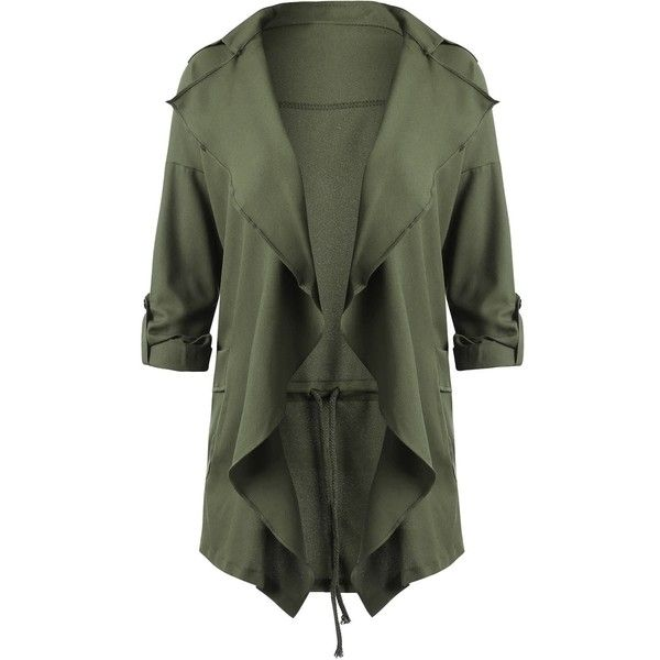 Drape Plus Size Lapel Waterfall Coat (£15) ❤ liked on Polyvore featuring outerwear, coats, green coats, women's plus size coats, plus size coats, womens plus coats and drape coat