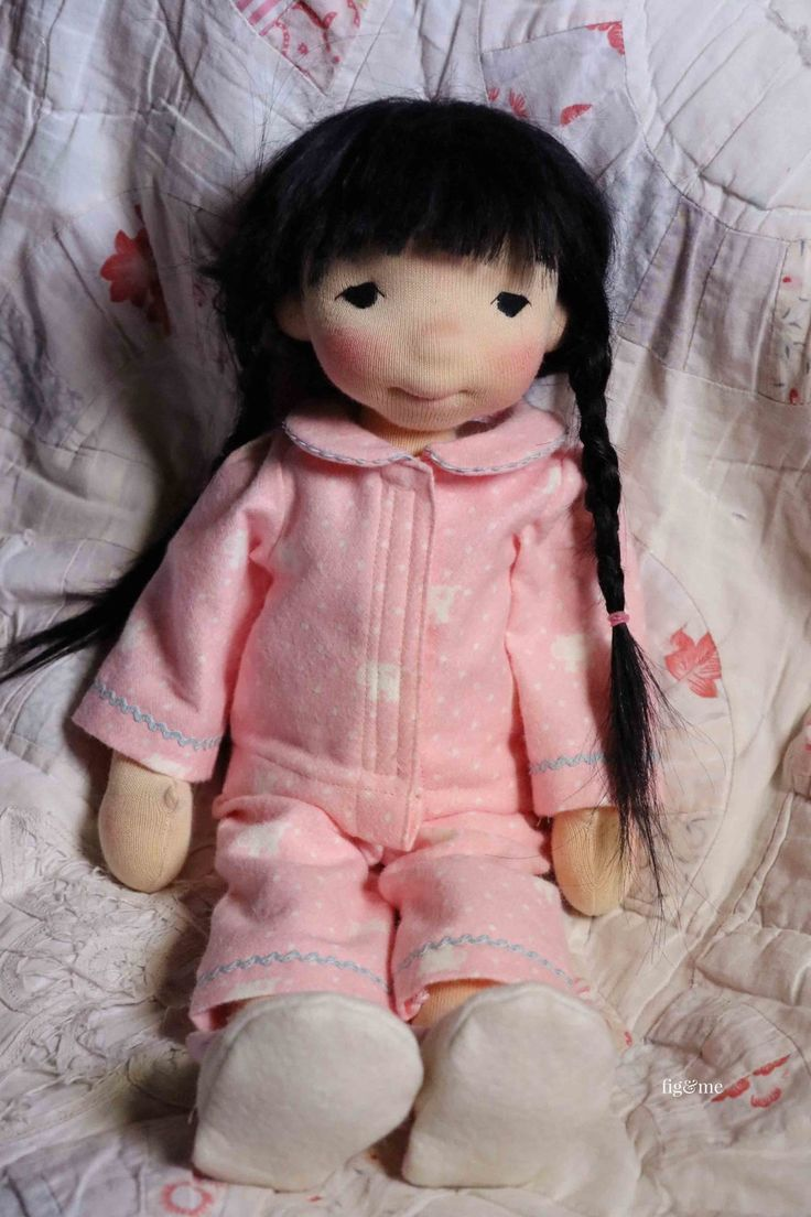 Aoki in her flannel pajamas. By Fig and Me.