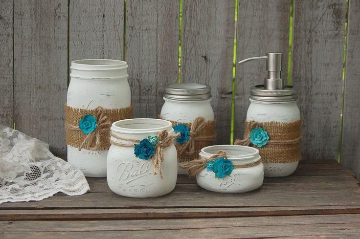 White mason jar bathroom set projects pinterest for Mason jar bathroom ideas