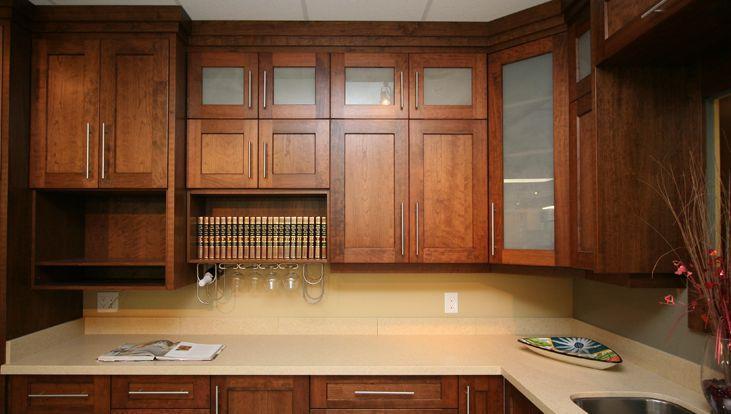 Century cabinets countertops custom kitchen cabinets for Cherry kitchen cabinets with glass doors