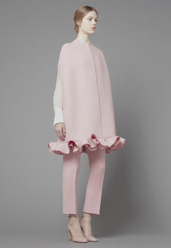 Valentino|  clean powdered pink with a dropped ruffle   #mizustyle