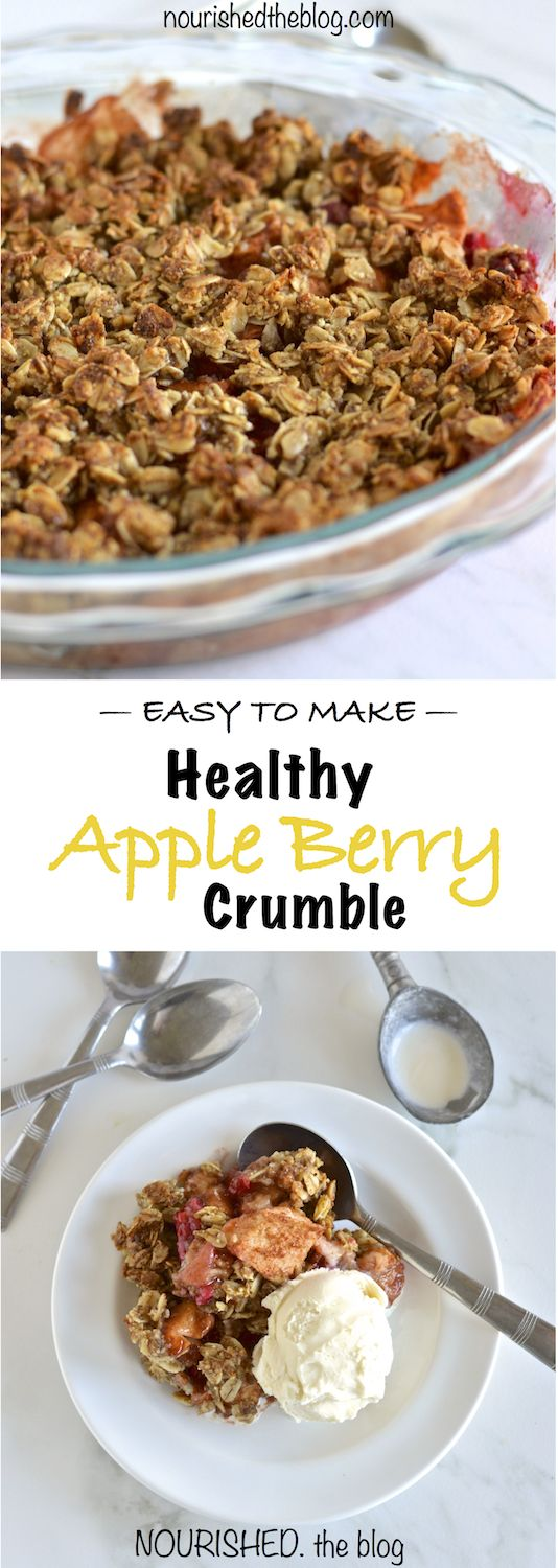 Healthy Apple Berry Crumble | nourishedtheblog.com | A healthy and gluten free dessert made with apples, cinnamon, raspberries, oats and almonds best served with vanilla ice cream.