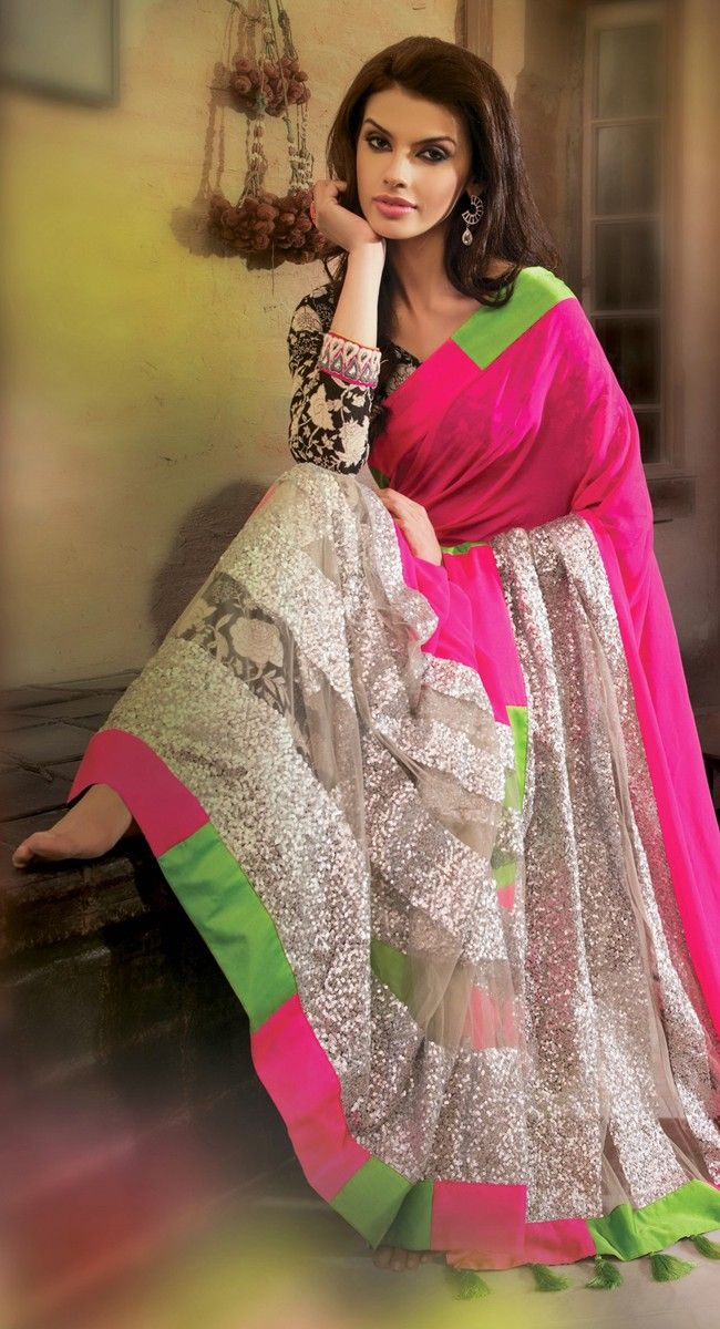 Lush Gray Pink Embroidered Saree
