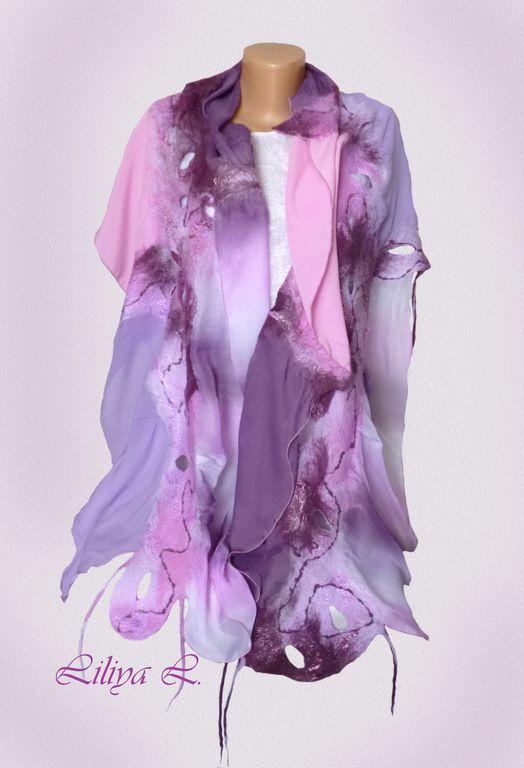 """Купить Шаль, сумка и брошь""""Лиловые розы"""" - шаль, шаль валяная, валяная шаль, валяный шарф"""