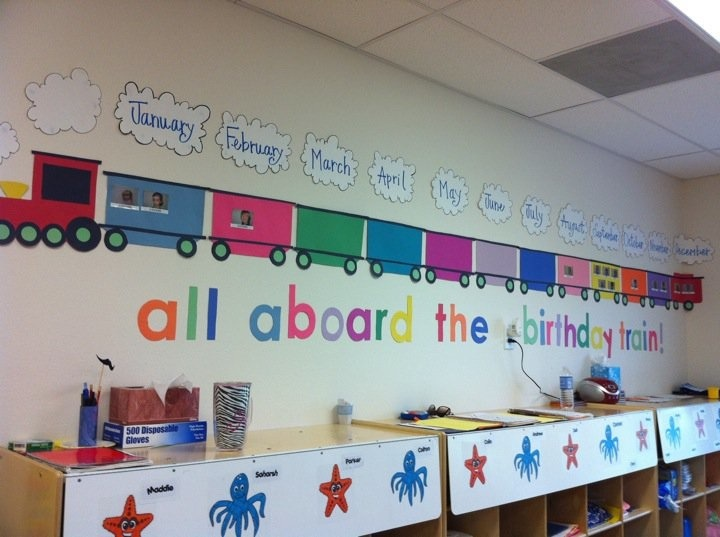 Birthday Wall Idea All Aboard The Train Gray Black And Red With Pictures Of Each Child Labeled Name Above