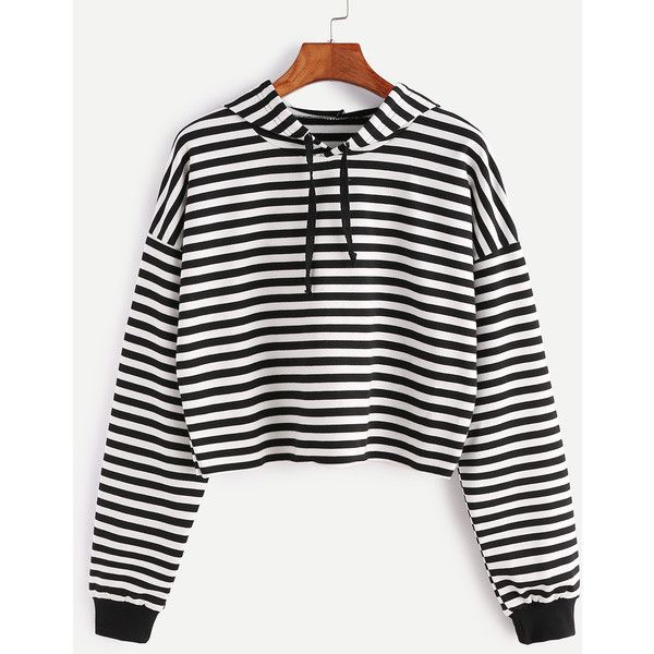 Black White Striped Drop Shoulder Drawstring Hooded Crop Sweatshirt ($13) ❤ liked on Polyvore featuring tops, hoodies, sweatshirts, black and white, black and white sweatshirt, cut-out crop tops, stripe top, drop shoulder tops and crop top
