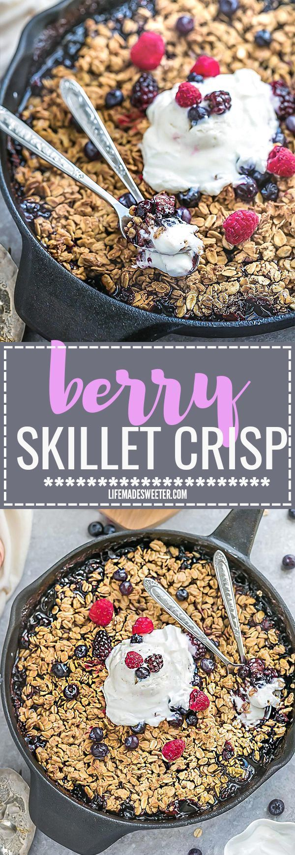 This recipe for Mixed Berry Skillet Crisp is made with a gluten free oat crumble topping and is the perfect easy dessert for using up summer (or frozen) berries. Best of all, it's also vegan, refined sugar free and takes less than 10 minutes to assemble with blueberries, raspberries, strawberries and blackberries. Plus recipe video.