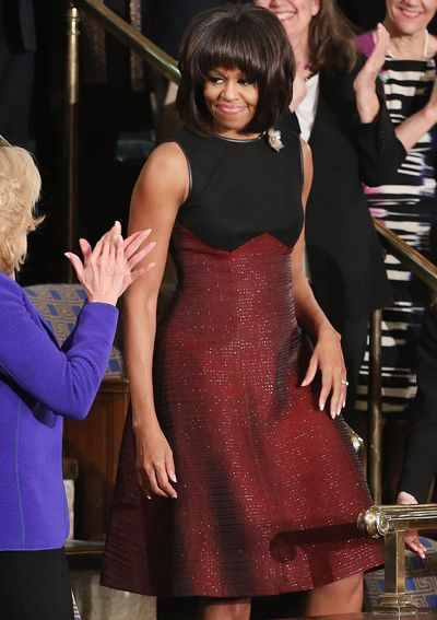 First Lady Michelle Obama and President Barack Obama. See Her 50 Best Looks - 2013 - Jason Wu from #InStyle