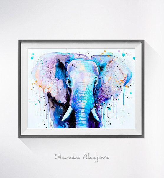 Blue Elephant Head watercolor painting print by Slaveika