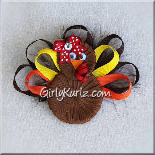 Turkey Hair Bow Thanksgiving Hair Bow Turkey Ribbon by GirlyKurlz