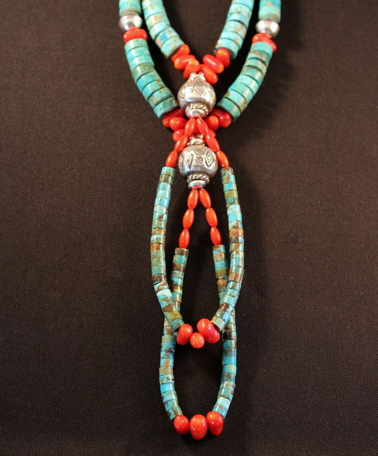 Kingman Turquoise Heishi 2-Strand Necklace with Jacla, Coral Ovals & Nuggets, and Ornate Sterling Silver