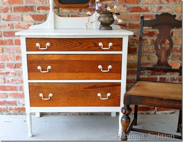 Repurposed furniture before and after white paint oak for Repurposed furniture before and after