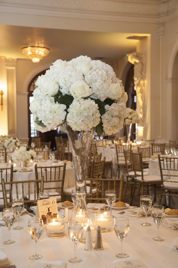 Winter wedding at the crystal ballroom white centerpiece for Floral arrangements for wedding reception centerpieces