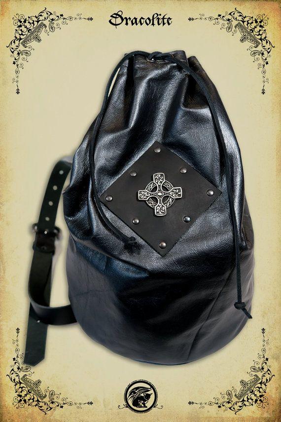 Backpack large shoulder bag in leather for LARP action