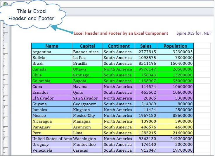 how to add footer excel