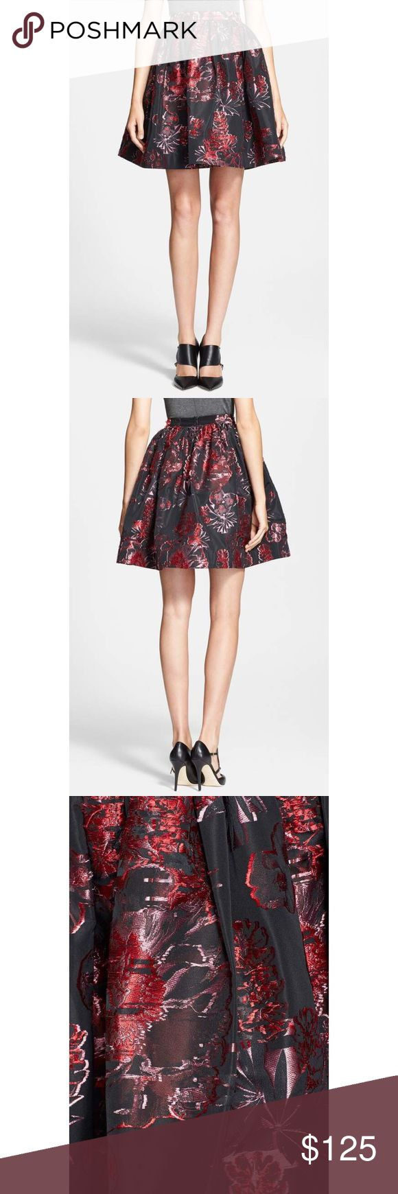 Alice + Olivia Pia Pouf Metallic Wildflower Skirt New Without Tags! Alice + Olivia Pia Pouf Black Metallic Wildflower Tea Skirt  Size Small Vibrant flowers explode across a girly pouf skirt shaped by volume-inducing pleats below the fitted waistband. Back zip closure. Fully lined. 80% polyester, 20% acetate. Dry clean. By Alice + Olivia; imported. Item #450020 Sold Out In All Stores And Online This Skirt Is A Super Cute Spring Must Have! Alice + Olivia Skirts Mini