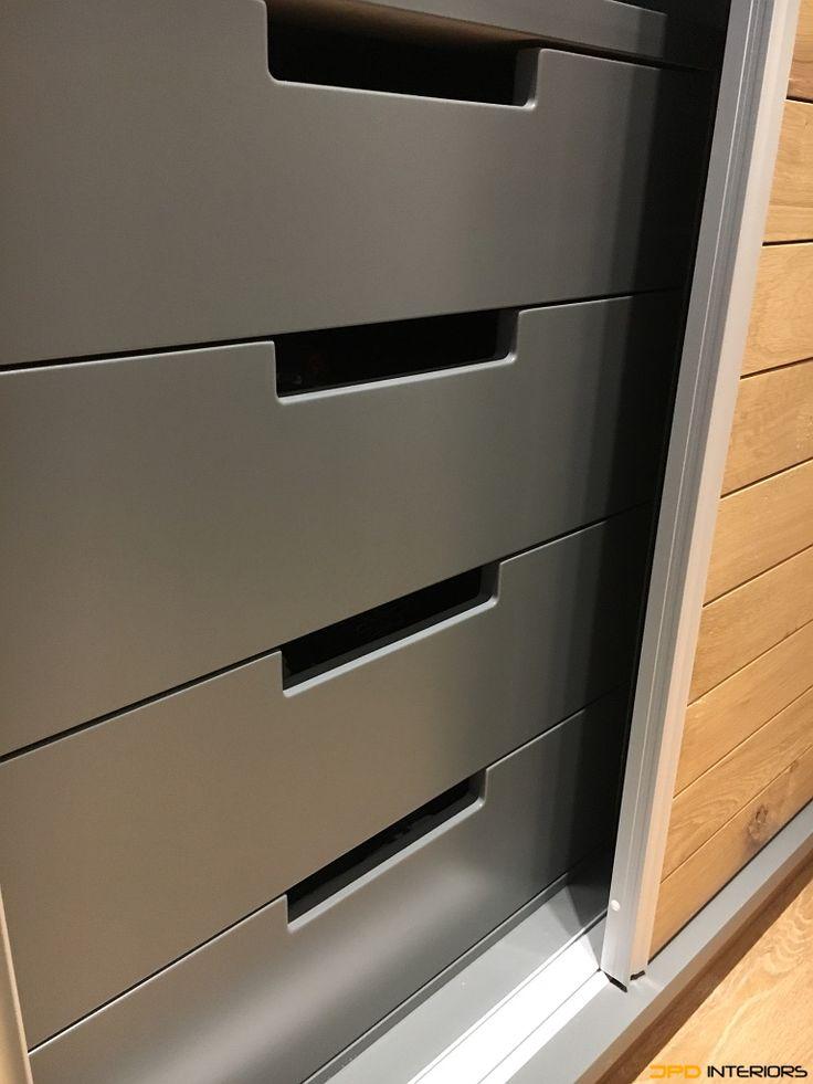 Main drawers behind aluminium sliding door system, from supawood with Blum undermount soft close.