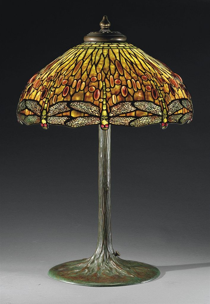 """** Tiffany Studios, New York, Favrile Glass and Patinated Bronze """" Dragon Fly"""" Lamp."""