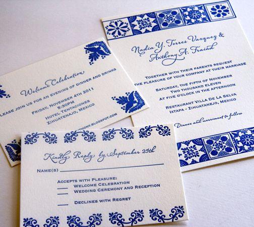 Blue and White Mexican Talavera Wedding Invitations