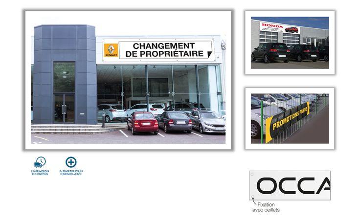 Jamet Communication : Banderole publicitaire personnalisées en PVC 500gr - classement anti-feu M1 - livrée avec oeillet