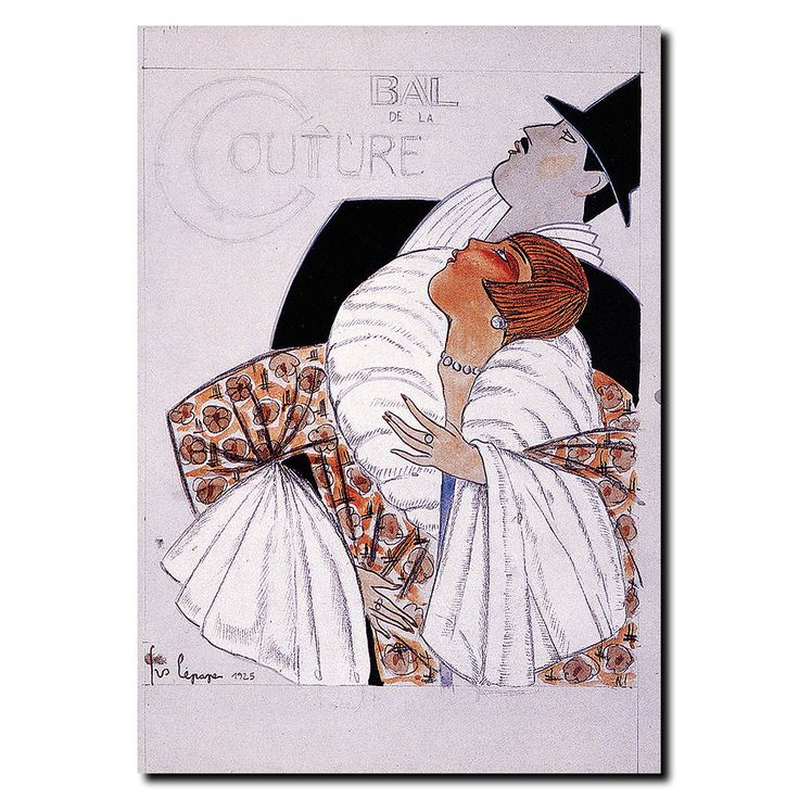 This canvas art is a fine art reproduction of Bal de la Couture by Georges Lepape. It is fully finished, arriving ready to hang on the wall of your choice. - Artist: Georges Lepape - Title: Bal de la