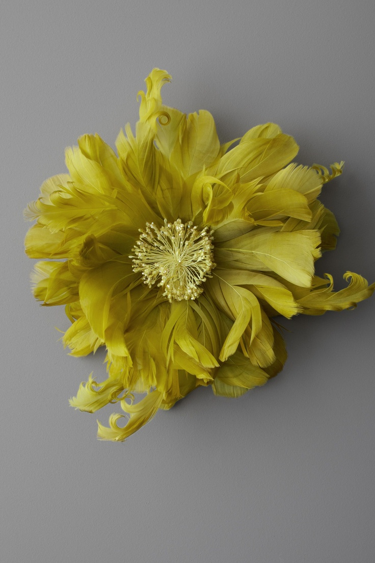 dahlia in chartreuse made with feathers ~