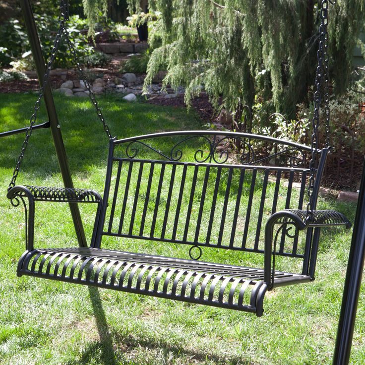 International Caravan Tropico Wrought Iron Curved Back Porch Swing   Porch  Swings At Hayneedle
