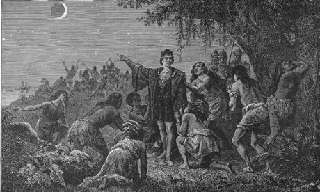 In 1492, Columbus sailed the ocean blue ... and slaughtered the indigenous peoples he found