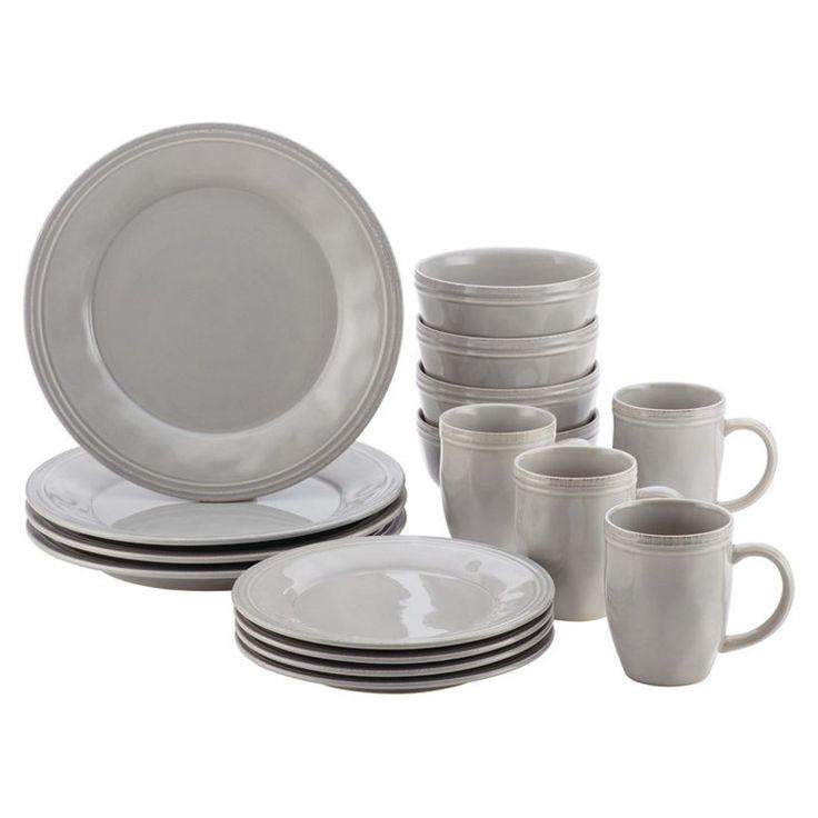 Rachael Ray Cucina 16 Piece Dinnerware Set Sea Salt Gray - 46297