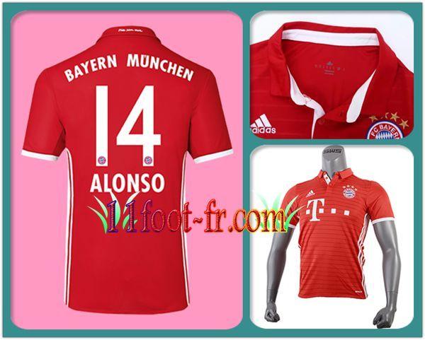 16/17 Maillot du FC Bayern Munich ALONSO 14 Domicile Manche Courte Rouge
