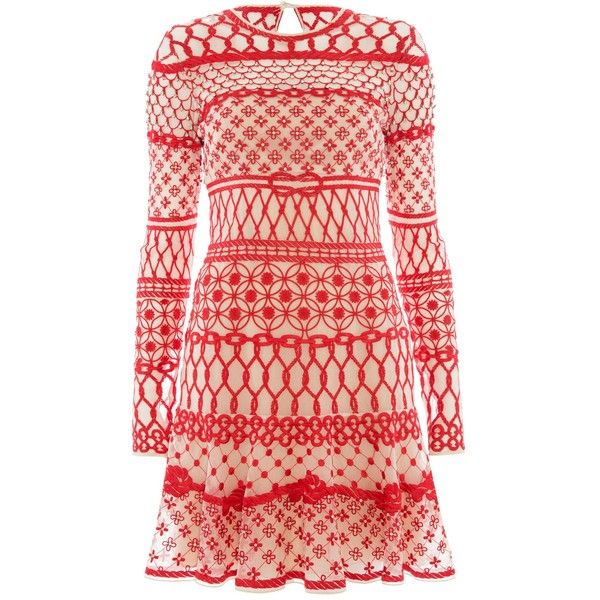 Temperley London Mini Fishnet Dress ($900) ❤ liked on Polyvore featuring dresses, red mix, red summer dress, long sleeve summer dresses, red fitted dress, embroidered dress and long-sleeve mini dress