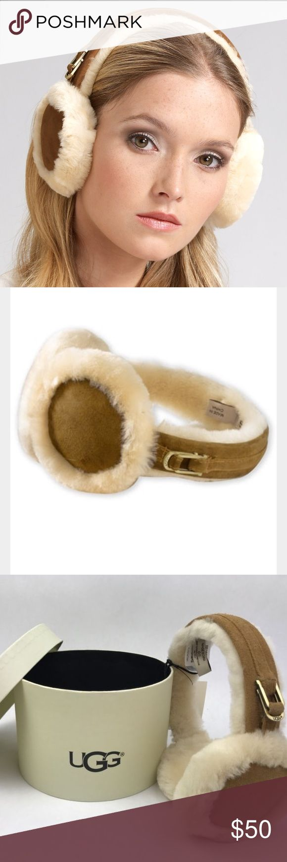 """UGG Australia Women's Earmuffs in Chestnut - New The women's UGG® Classic Sheepskin Earmuffs are the perfect fashionable winter accessory. With genuine sheepskin lining and unique hardware they give you both comfort and style.  •Materials: SHEEPSKIN •Description: Exposed Sheepskin, """"U"""" Logo Charm •This product contains real fur from Sheep or Lamb •Fur Origin: Australia, UK, Ireland or United States •Real Fur has been artificially dyed and treated •By UGG UGG Accessories Hats"""